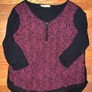 Maurices Lace Top with Zipper